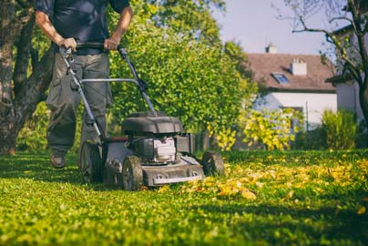 Mowing leaves with grass
